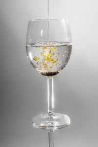 water glass with oil